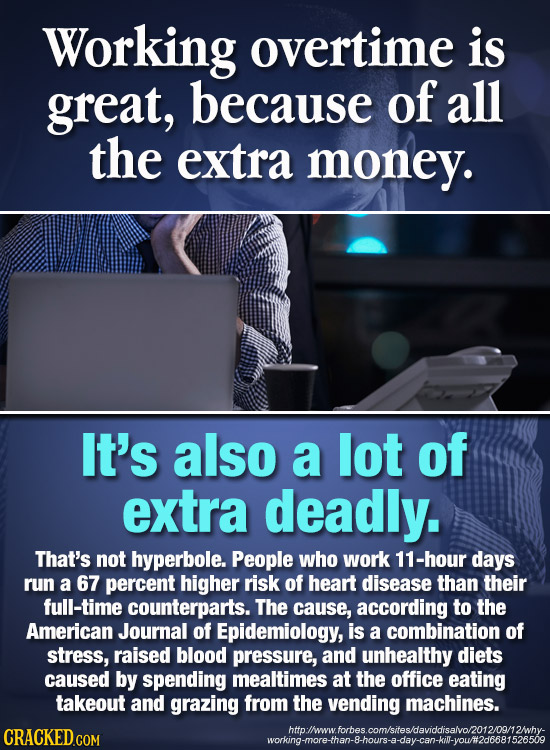Working overtime is great, because of all the extra money. It's also a lot of extra deadly. That's not hyperbole. People who work 11-hour days run a 6