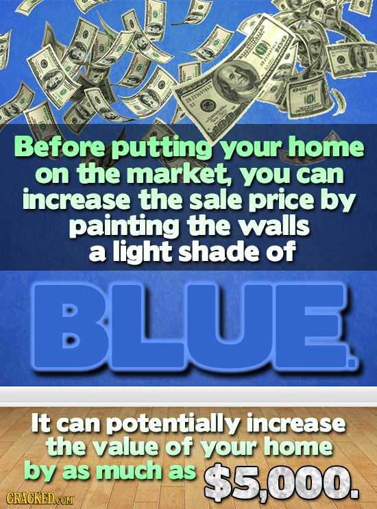 TESEERR ND Before putting your home on the market, you can increase the sale price by painting the walls a light shade of BLUE It can potentially incr