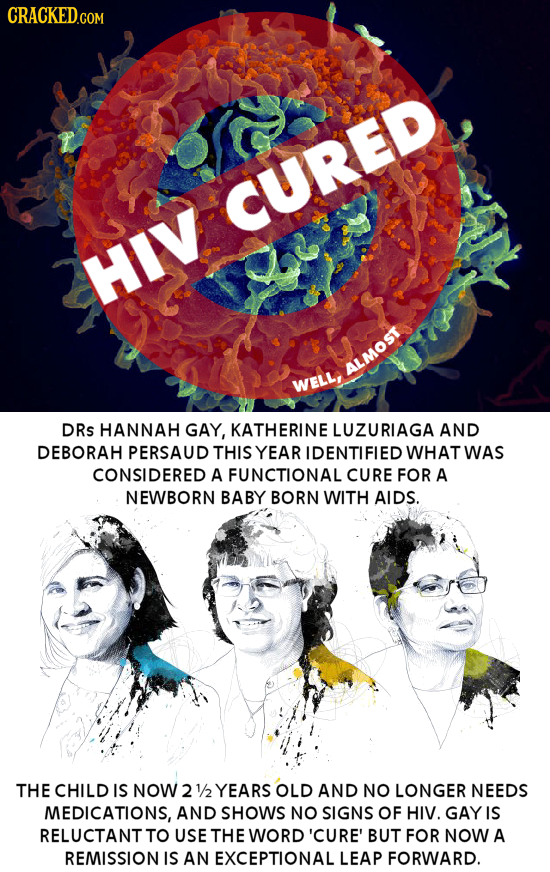 CRACKED.COM CURED HIV ALMOS WELLI DRs HANNAH GAY, KATHERINE LUZURIAGA AND DEBORAH PERSAUD THIS YEAR IDENTIFIED WHAT WAS CONSIDERED A FUNCTIONAL CURE F