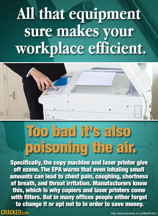 All that equipment sure makes your workplace efficient. Too bad it's also poisoning the air. Specifically, the copy machine and laser printer give off
