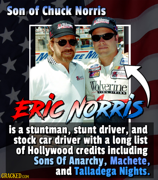 Son of Chuck Norris EE WAETSMAR Wolverine NORRIS VINL IDINC is a stuntman, stunt driver, and stock car driver with a long list of Hollywood credits in