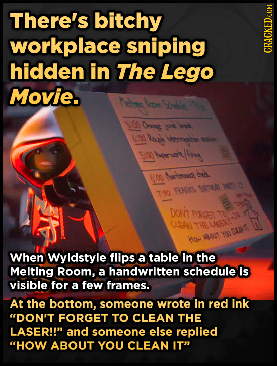 There's bitchy workplace sniping hidden in The Lego Movie. 1:00 Onens L Ror tmouser u 500 Sm Agentling cdl 6i00 Mrtice FAIS NTM T  To e Do't FORGET To