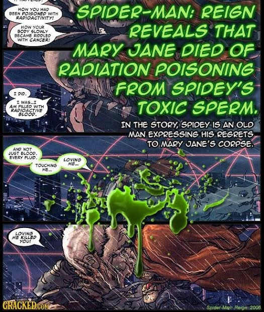 HOW you HAD SPiDer-MAN: REIGN BEEN POISONED WITH RAPIOACTIVITY! HOW YOUR REVEALS THAT BODY SLOWLY BECAME RIDOLED WITH CANCER! MARY JJANE DIED OF RADIA