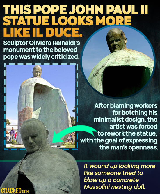 THIS POPE JOHN PAUL II STATUE LOOKS MORE LIKE IL DUCE. Sculptor Oliviero Rainaldi's monumentt to the beloved pope was widely criticized. After blaming