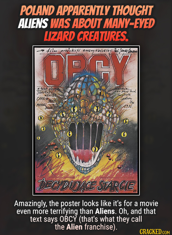 POLAND APPARENTLY THOUGHT ALIENS WAS ABOUT MANY-EYE LIZARD CREATURES. OPCY film perdukeji sriskie Ri. Jamas slanera NRofach Lw uKjA SIGoURNE ale Ame H
