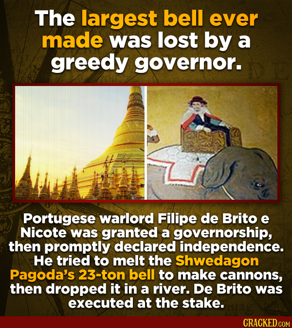 The largest bell ever made was lost by a greedy governor. Portugese warlord Filipe de Brito e Nicote was granted a governorship, then promptly declare