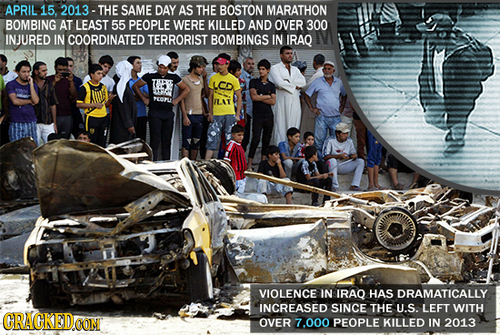 APRIL 15. 2013- THE SAME DAY AS THE BOSTON MARATHON BOMBING AT LEAST 55 PEOPLE WERE KILLED AND OVER 300 INJURED IN COORDINATED TERRORIST BOMBINGS IN I