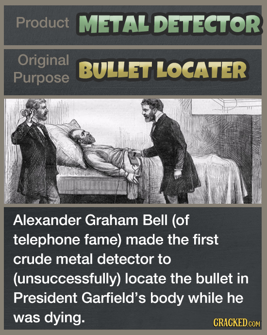Product METAL DETECTOR Original BULLET LOCATER Purpose Alexander Graham Bell (of telephone fame) made the first crude metal detector to (unsuccessfull