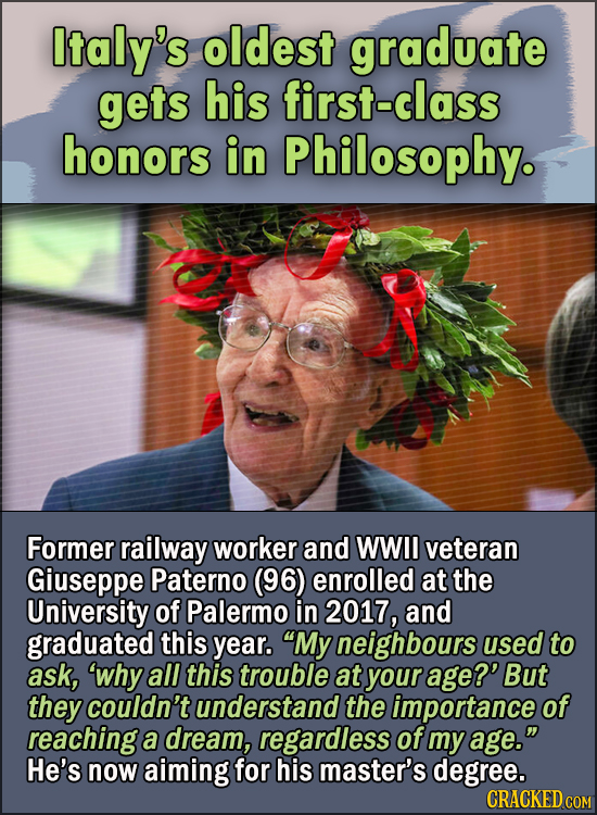 15 Feel Good Stories Of 2020 To End This Wretched Year - Italy's oldest graduate gets his first-class honors in Philosophy.  At 96, former railway wor