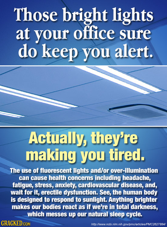 Those bright lights at your office sure do keep you alert. Actually, they're making you tired. The use of fluorescent lights and/or over-illumination