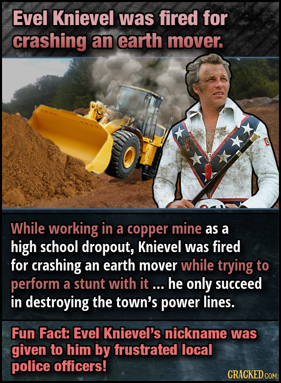 Evel Knievel was fired for crashing an earth mover. While working in a copper mine as a high school dropout, Knievel was fired for crashing an earth m