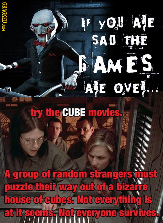 IF YOU ARE SAO THE G AMES ARE Over... try the CUBE movies. A group of random strangers must puzzle their way out of a bizarre house of cubes. Not ever