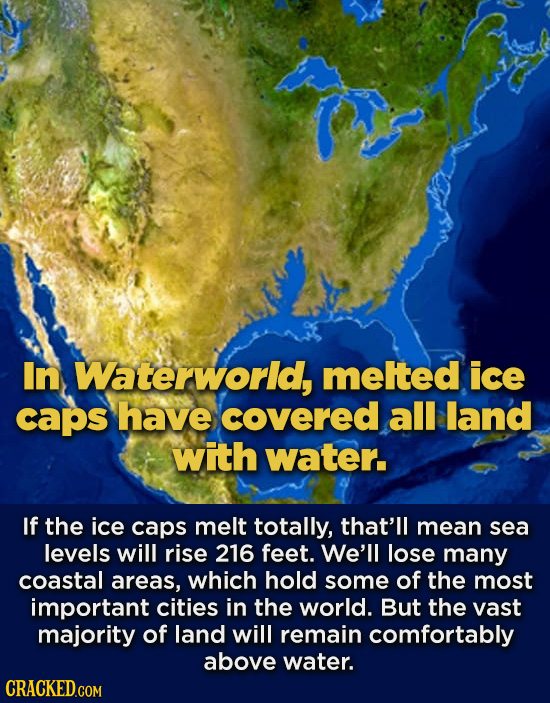 In Waterworid, melted ice caps have covered all land with water. If the ice caps melt totally, that'll mean sea levels will rise 216 feet. We'll lose