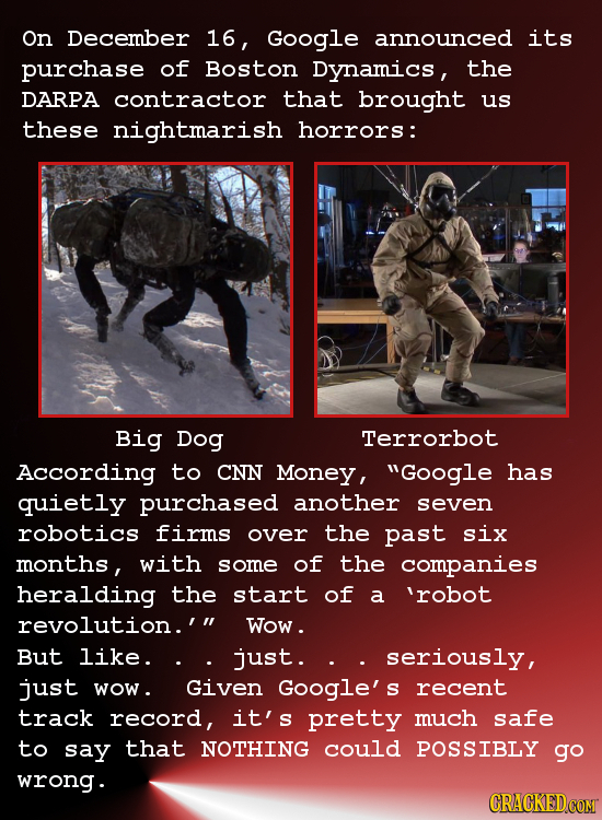 On December 16, Google announced its purchase of Boston Dynamics, the DARPA contractor that brought Us these nightmarish horrors: Big Dog Terrorbot Ac