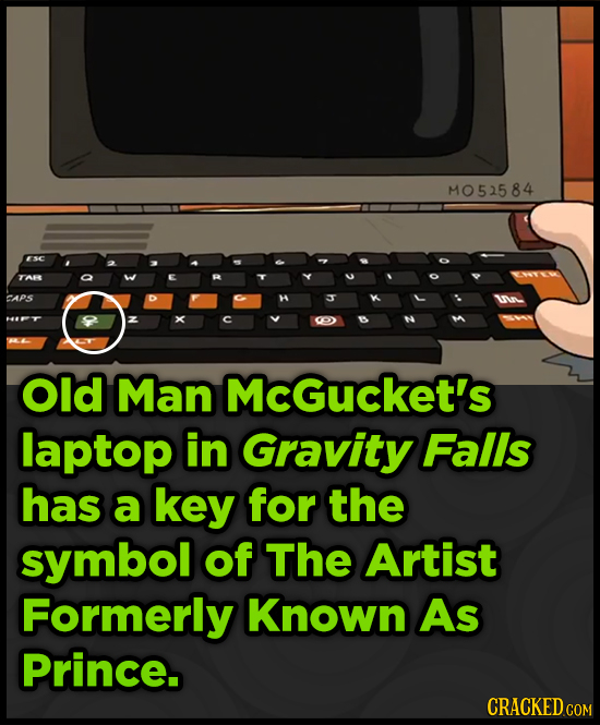 MO52584 ESC TAR CAPS Old Man McGucket's laptop in Gravity Falls has a key for the symbol of The Artist Formerly Known As Prince.