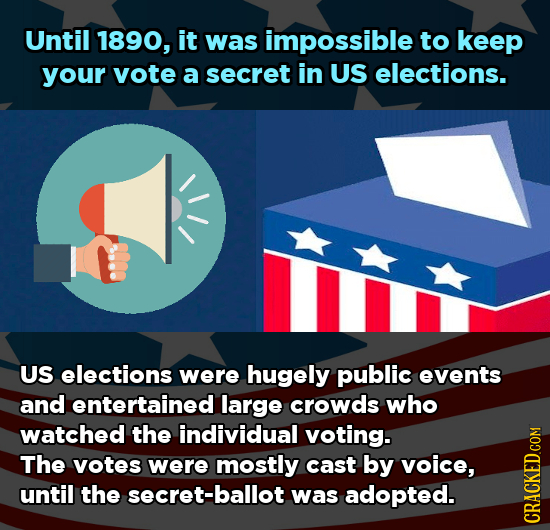 Until 1890, it was impossible to keep your vote a secret in US elections. US elections were hugely public events and entertained large crowds who watc