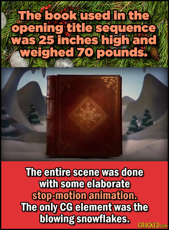 23 Son Of A Nutcracker Facts About The Christmas Classic Elf - The book used in the opening title sequence was 25 inches high and weighed 70 pounds.