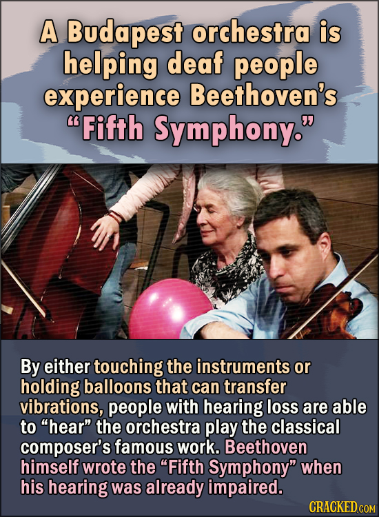 """15 Feel Good Stories Of 2020 To End This Wretched Year - A Budapest orchestra is helping deaf people experience Beethoven's """"Fifth Symphony."""" By eithe"""