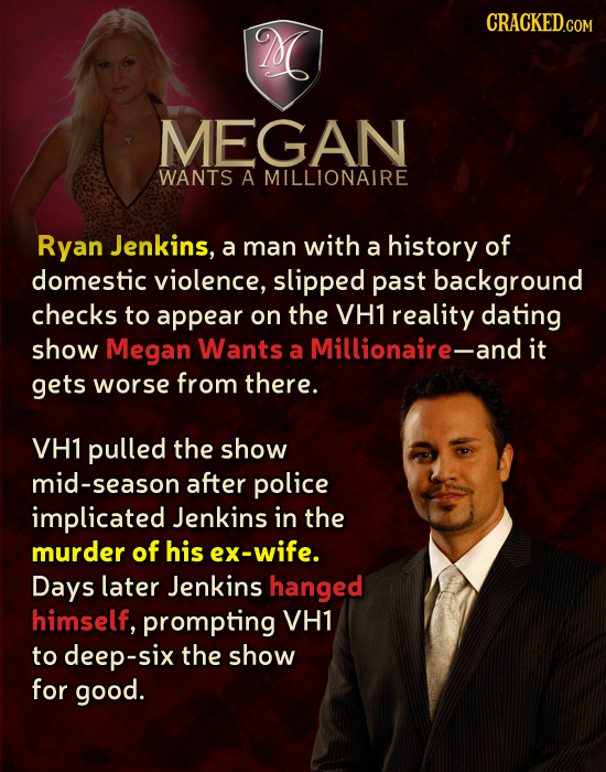 M MEGAN WANTS A MILLIONAIRE Ryan Jenkins, a man with a history of domestic violence, slipped past background checks to appear on the VH1 reality datin