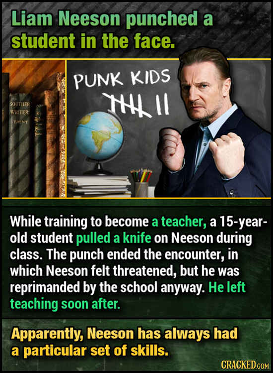 Liam Neeson punched a student in the face. PUNK KIDS HHLII SOUTHER WRITER TRENT While training to become a teacher, a year- old student pulled a knife