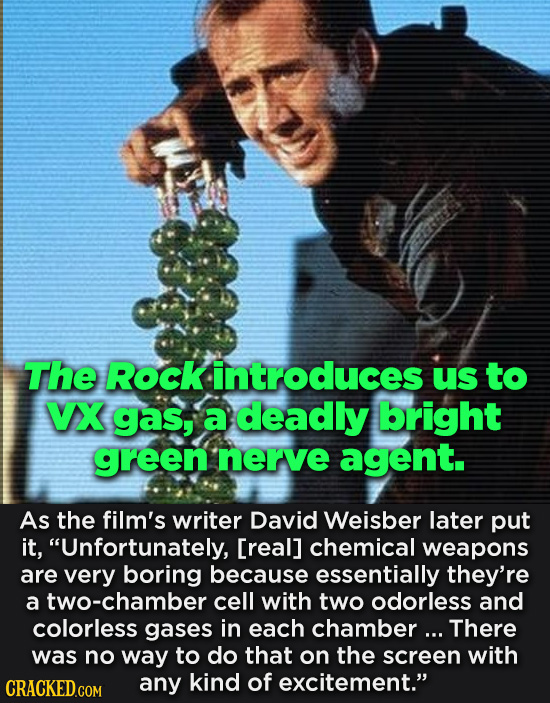 The Rock introduces Us to VX gas, a deadly bright green nerve agent. As the film's writer David Weisber later put it, Unfortunately, [real] chemical