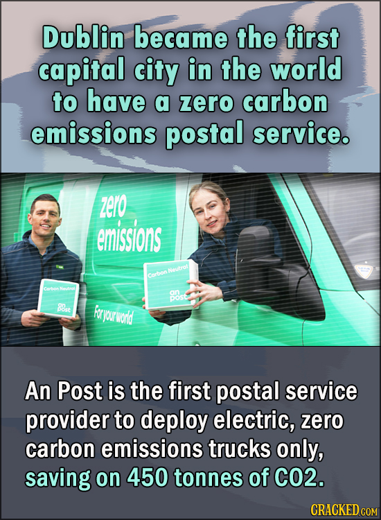 15 Feel Good Stories Of 2020 To End This Wretched Year - Dublin became the first capital city in the world to have a zero carbon emissions postal serv