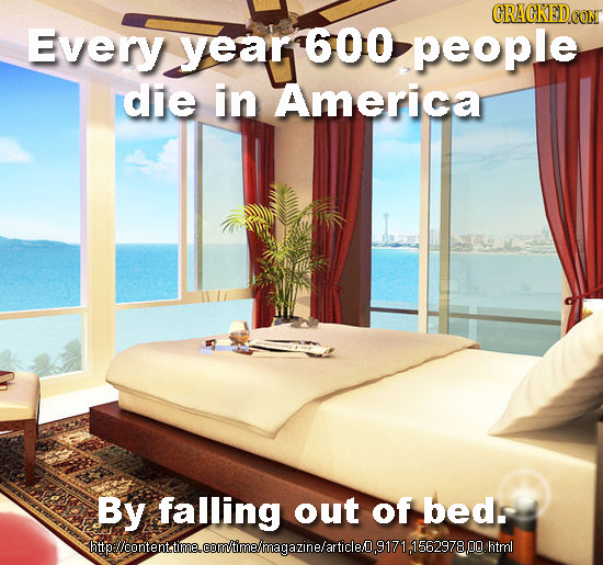 CRACKEDCOR Every year 600 people die in America By falling out of beds htipllcontenttme.com'imelmagazinelarticle9171, .html