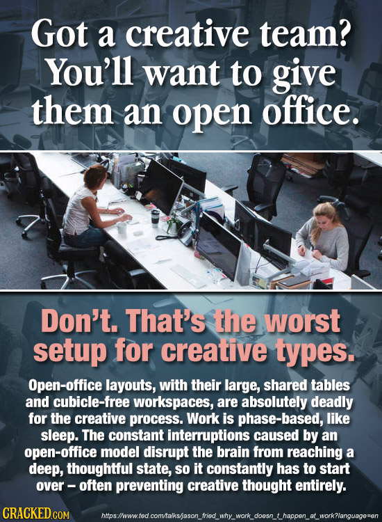 Got a creative team? You'll want to give them an open office. Don't. That's the worst setup for creative types. Open-office layouts, with their large,