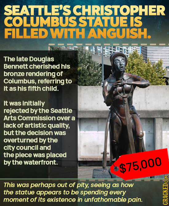 SEATTLE'S CHRISTOPHER COLUMBUS STATUE IS FILLED WITH ANGUISH. The late Douglas Bennett cherishedhis bronze rendering of Columbus, referring to it as h