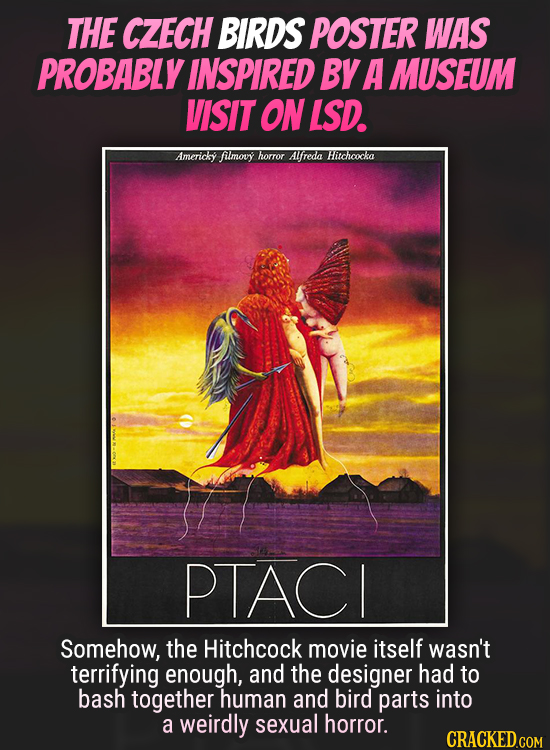 THE CZECH BIRDS POSTER WAS PROBABLY INSPIRED BY A MUSEUM VISIT ON LSD. Americky filmouy horror Alfreda Hitchoocka PTACI Somehow, the Hitchcock movie i