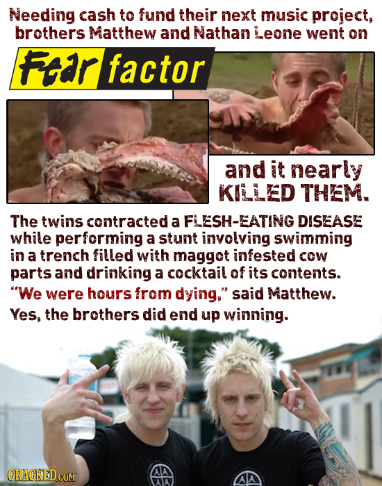 Needing cash to fund their next music project, brothers Matthew and Nathan Leone went on Ftar factor and it nearly KILLED THEM. The twins contracted a