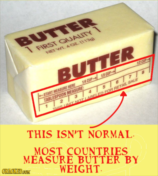 BUTTER QUALITY 1 FIRST WT.401.111301 NET 1/2 CUP BUTTER B 13 CUP. 7 CUP 1/4 6 SALE HERE 5 RETAIL MEASURE MEASURE: 4 FOR START 3 TABLESPOON 2 1 THIS IS