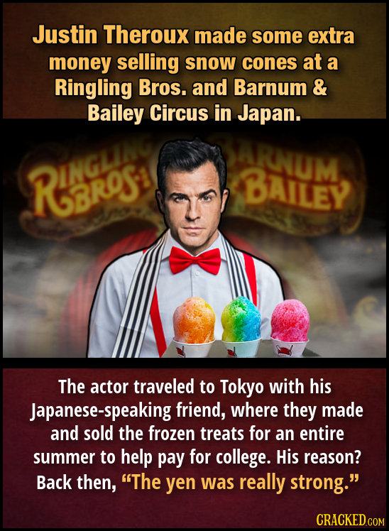 Justin Theroux made some extra money selling snow cones at a Ringling Bros. and Barnum & Bailey Circus in Japan. ARNUM RINGCS BAILEY 3RS The actor tra