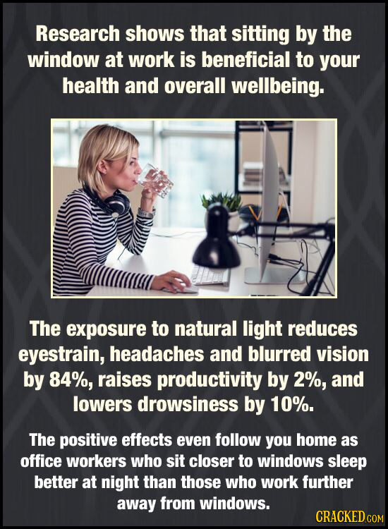 Research shows that sitting by the window at work is beneficial to your health ANd overall wellbeing. The exposure to natural light reduces eyestrain,