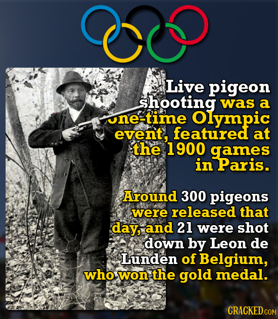 C Live pigeon shooting was a one-time Olympic event, featured at the 1900 games in Paris. Around 300 pigeons were released that day, and 21 were shot
