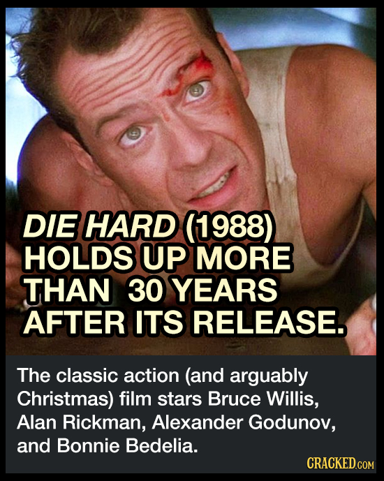 DIE HARD (1988) HOLDS UP MORE THAN 30 YEARS AFTER ITS RELEASE The classic action (and arguably Christmas) film stars Bruce Willis, Alan Rickman, Alexa