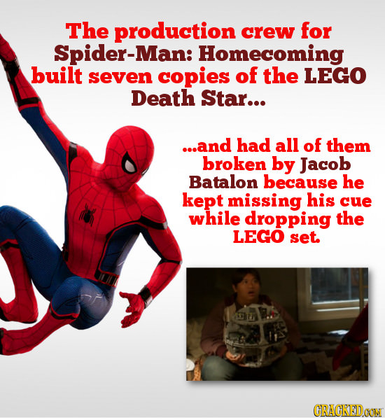 The production crew for Spider-Man: Homecoming built seven copies of the LEGO Death Star... ...and had all of them broken by Jacob Batalon because he