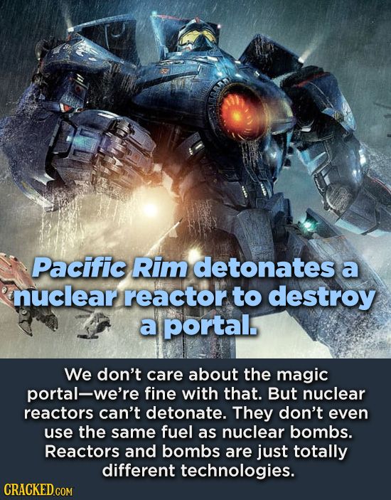 Pacific Rim detonates a nuclear reactor to destroy a portal. We don't care about the magic portal-we're fine with that. But nuclear reactors can't det