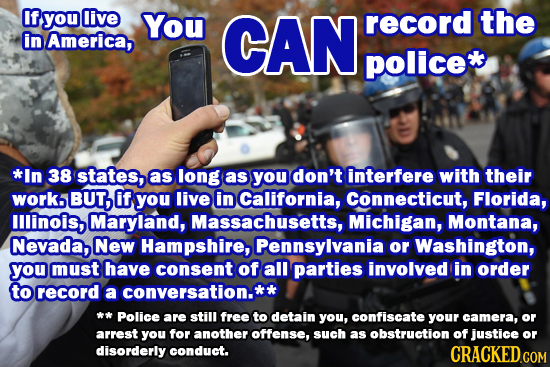 If you live You CAN record the in America, police *In 38 states, as long as you don't interfere with their worko BUT, if you live in California, Conne
