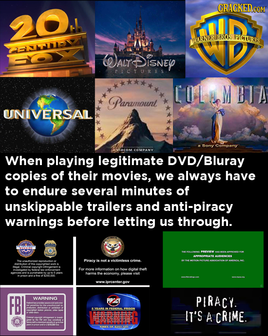 CRACKED.cO 20 BROS. PICTURES WARNER HNT-YA ALT DISNEY PICTURES COLMBTA Paramnount UNIVERSAIL Sony Company ACoM COMPANY When playing legitimate /Bluray