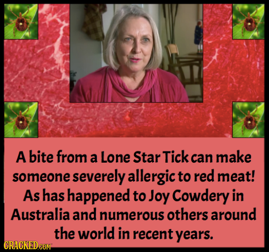 A bite from a Lone Star Tick can make someone severely allergic to red meat! As has happened to Joy Cowdery in Australia and numerous others around th
