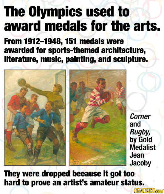 The Olympics used to award medals for the arts. From 1912-1948, 151 medals were awarded for sports-themed architecture, literature, music, painting, a