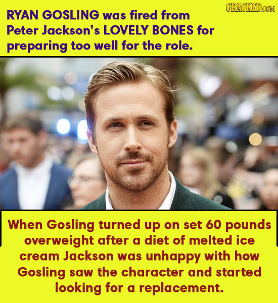 CRACKED0O RYAN GOSLING was fired from Peter Jackson's LOVELY BONES for preparing too well for the role. When Gosling turned up on set 60 pounds overwe