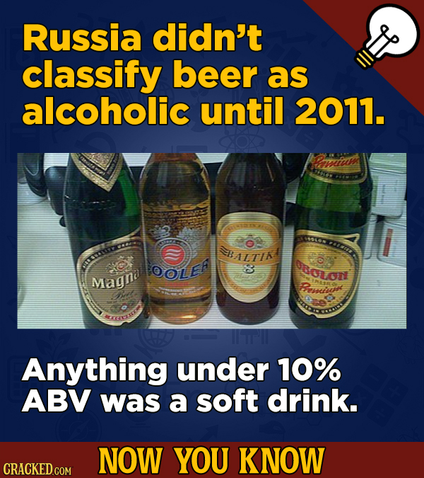 Russia didn't classify beer as alcoholic until 2011. arnicy OOLE oolon Magna R Ramivoe KECR Anything under 10% ABV was a soft drink. NOW YOU KNOW CRAC