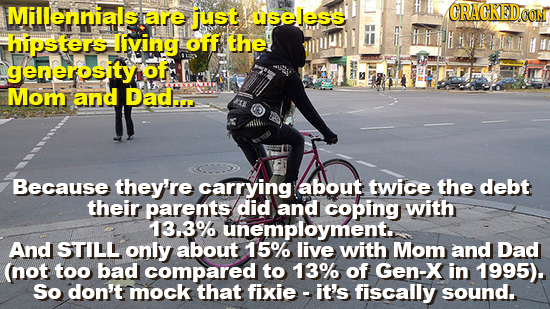 Millennials rare jJust aseles's CRACREDCOM hipsters Iiving off the generosity of Mom and Dad... Because they're carrying about twice the debt their pa