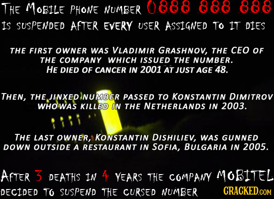 THE MoRILE PHONE NUMBER 0888 888 888 is SUSPENDED AFTER EVERY USER ASSIGNED TO IT DIES THE FIRST OWNER WAS VLADIMIR GRASHNOV, THE CEO OF THE COMPANY W