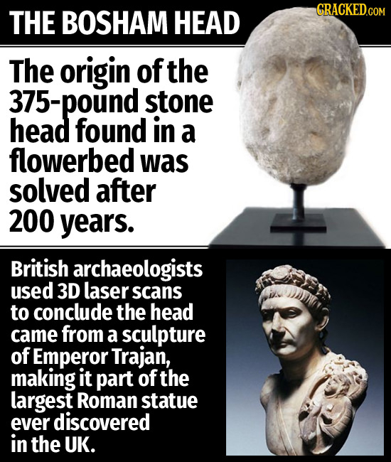 BOSHAM CRACKED.GOM THE HEAD The origin of the 375-pound stone head found in a flowerbed was solved after 200 years. British archaeologists used 3D las