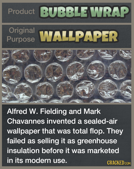 Product BUBBLE WRAP Original WALLPAPER Purpose Alfred W. Fielding and Mark Chavannes invented a sealed-air wallpaper allaporthia  was toa n that was t