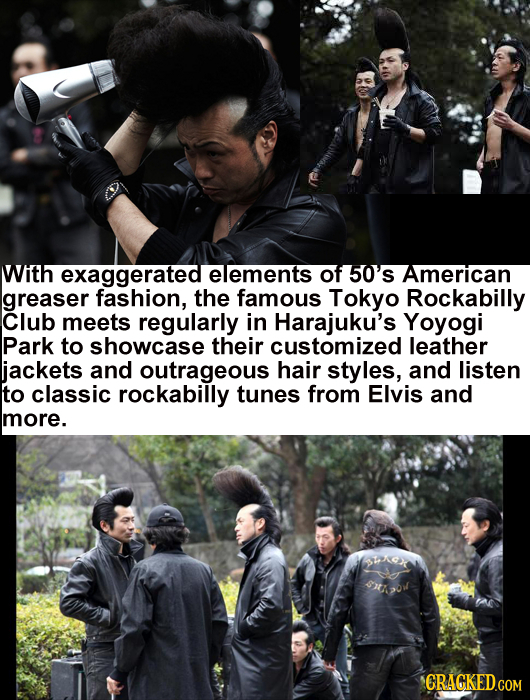 With exaggerated elements of 50'S American greaser fashion, the famous Tokyo Rockabilly Club meets regularly in Harajuku's Yoyogi Park to showcase the