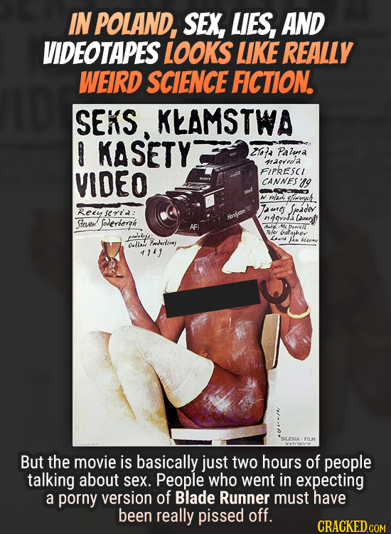 IN POLAND, SEX, LIES, AND VIDEOTAPES LOOKS LIKE REALLY WEIRD SCIENCE FICTION SEKS, KEAMSTWA 9 KASETY 210a Palnd magyoa VIDEO FIPRESCI CANNES 89 W rela